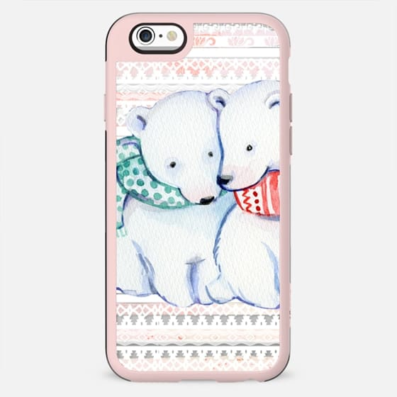 Cuddling cute polar bears