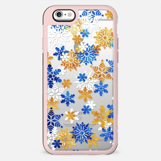 Blue gold snowflakes