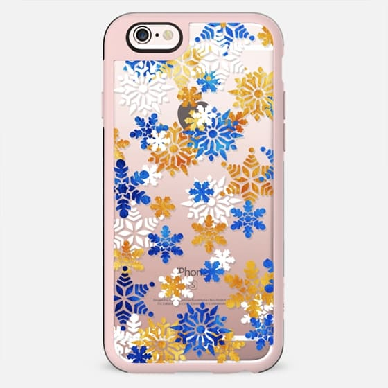 Blue gold snowflakes clear