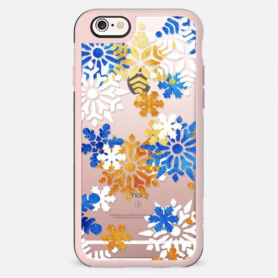 Blue white gold snowflakes