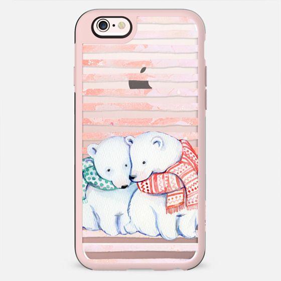 Cute cuddling polar bears and peach stripes