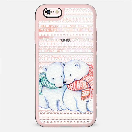 Cute cuddling polar bears and ethnic stripes