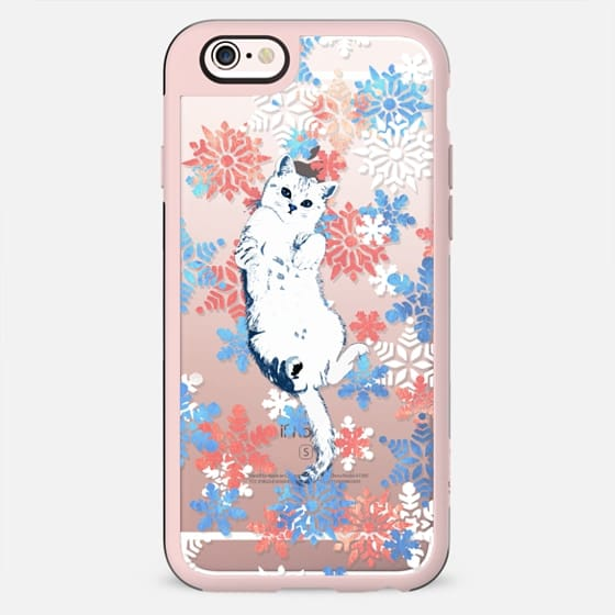 White kitty and colourful painted snowflakes - New Standard Case