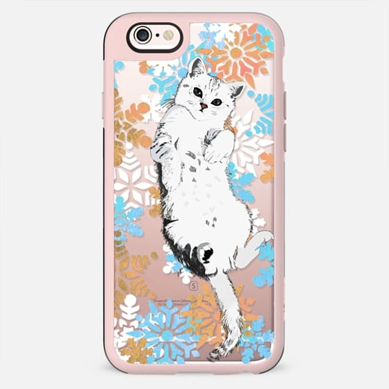 White cat and colourful snowflakes - New Standard Case