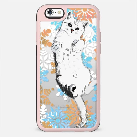 White kitty and colourful snowflakes - New Standard Case