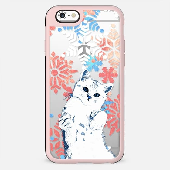 White cat and painted snowflakes - New Standard Case
