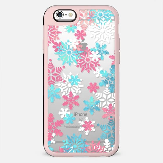Blue - pink watercolor snowflakes
