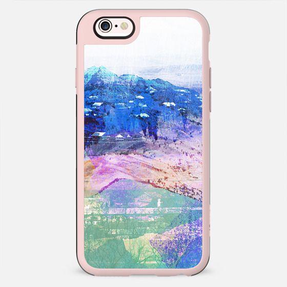 Pastel mountain landscape painting