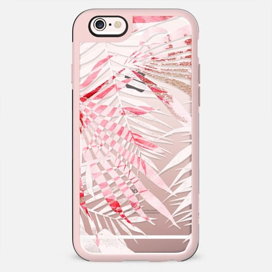Light pink tropical leaves clear case