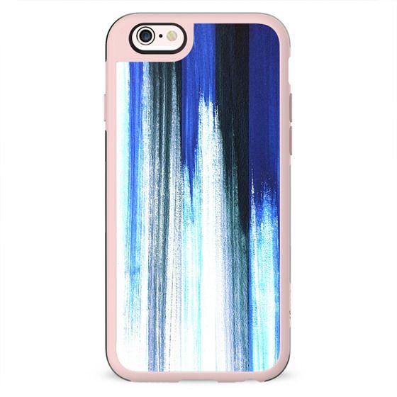 Blue white brushstroke stripes