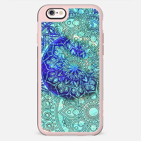 Blue line art bohemian mandala - New Standard Case