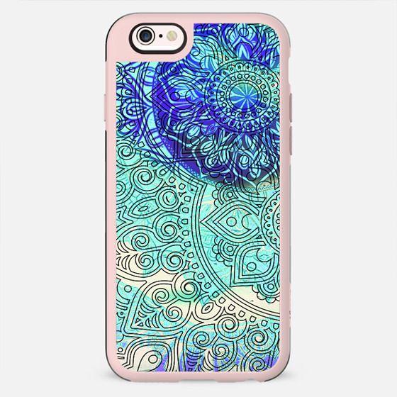 Blue line art bohemian mandala
