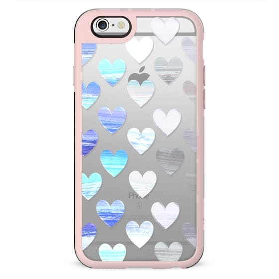 blue white gradient hearts watercolor painting