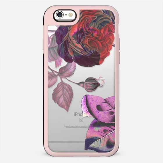 red pink roses clear case botanical
