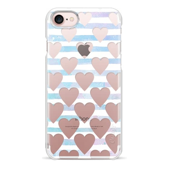 iPhone 6s Cases - Hearts and blue stripes clear