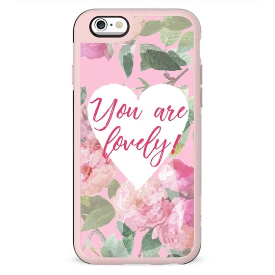 You are lovely on pink roses background