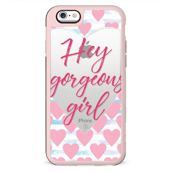 Hey gorgeous girl! white hearts and watercolor stripes