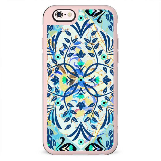 romantic blue foliage pattern