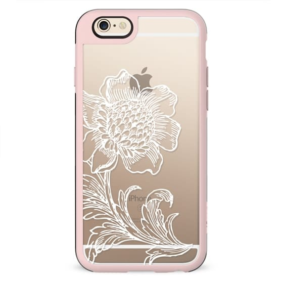 White subtle flower line art lace clear case