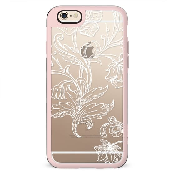 White flowers and foliage line art lace clear case