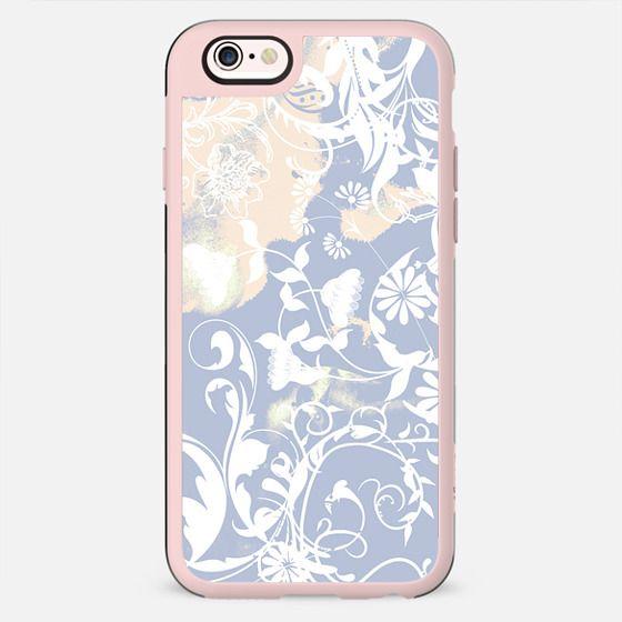 Pastel blue white romantic foliage and birds - New Standard Case