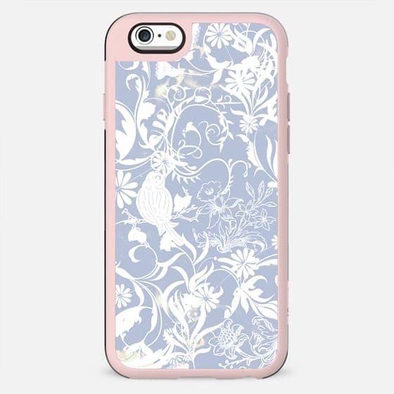 Pastel blue white romantic foliage and birds illustration - New Standard Case