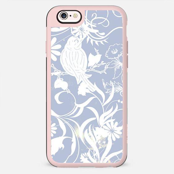 Pastel blue white romantic foliage and bird - New Standard Case