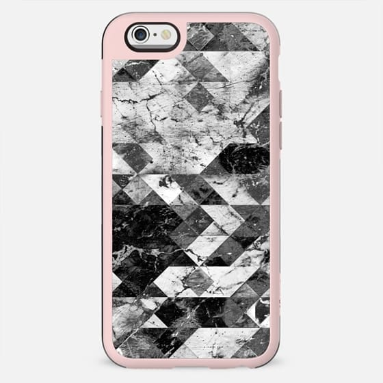 Marble cracked triangles collage black and white