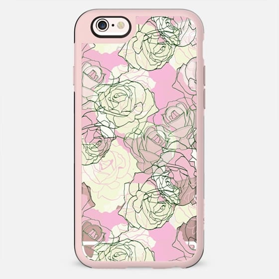 Pastel roses line art clear case - New Standard Case