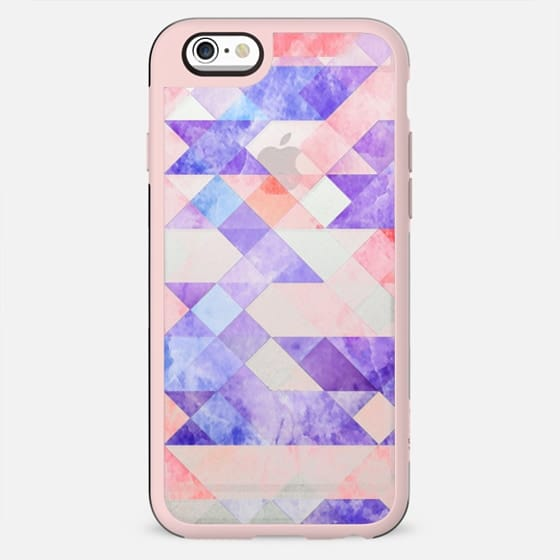 Transparent colorful marble triangles and squares clear