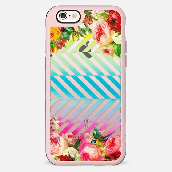 Vintage flowers and watercolor dynamic stripes clear - New Standard Case