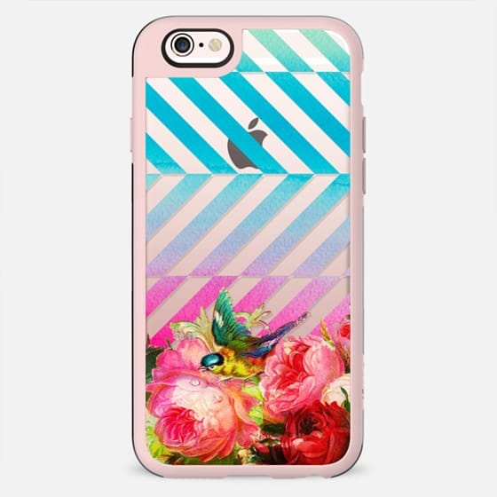 Vintage flowers bird and watercolor stripes - New Standard Case