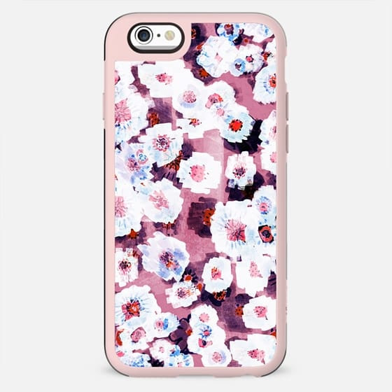 White watercolor flowers on pink - New Standard Case