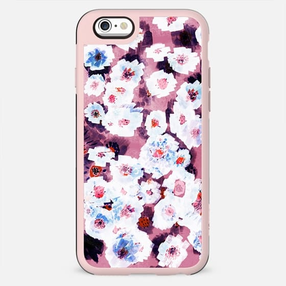 White red watercolor flowers on pink - New Standard Case
