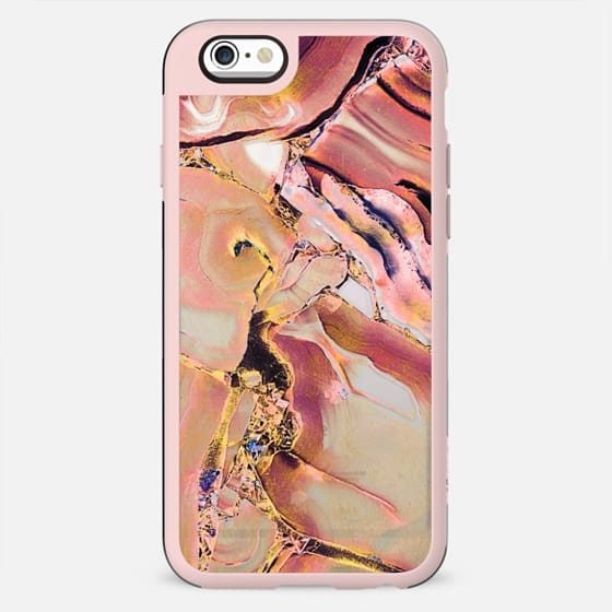 Pink golden precious stones transparent case