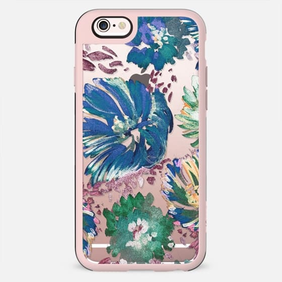 Paint brushed flowers clear case