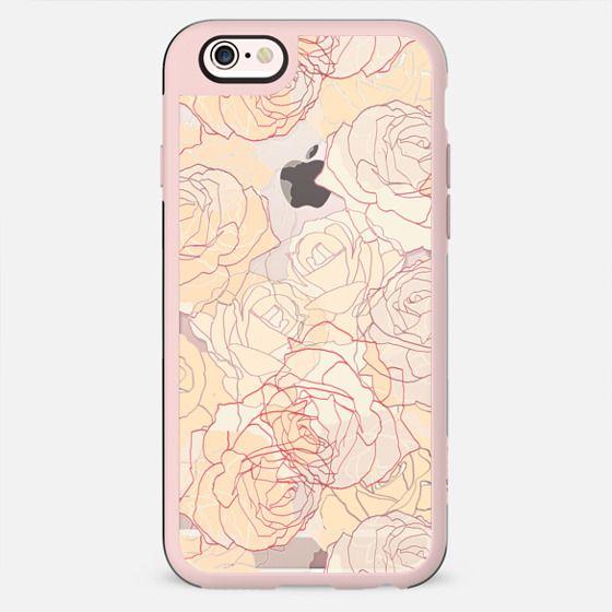 Pastel line art roses elegant print