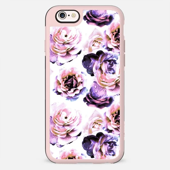 Purple pink rose petals painting on white - New Standard Case