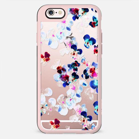 Transparent blue pink pansy petals