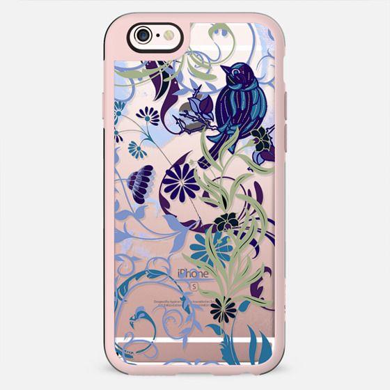 Bird, flowers, leaves blue clear case - New Standard Case