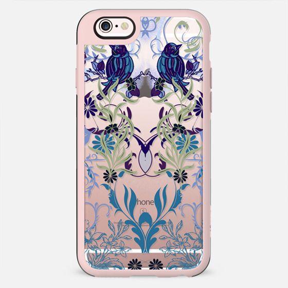 Bird, flowers, leaves elegant line art - New Standard Case