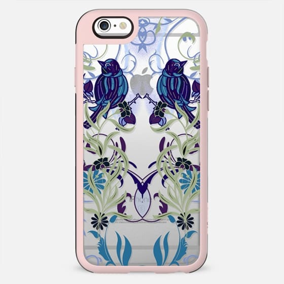 Bird, flowers, leaves mirrored line art - New Standard Case