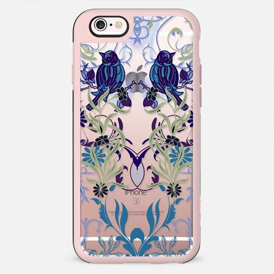 Bird, flowers, leaves elegant line art damask