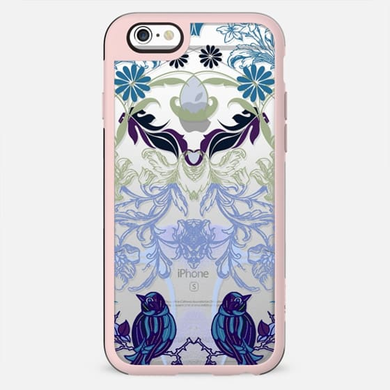 Bird, flowers, leaves mirrored vintage line art - New Standard Case