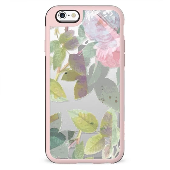 Pastel flowers and leaves