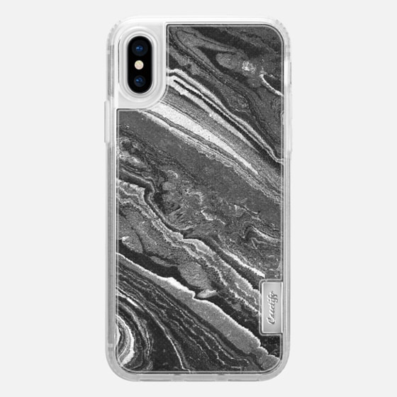 iPhone X ケース - Monochrome marble lines