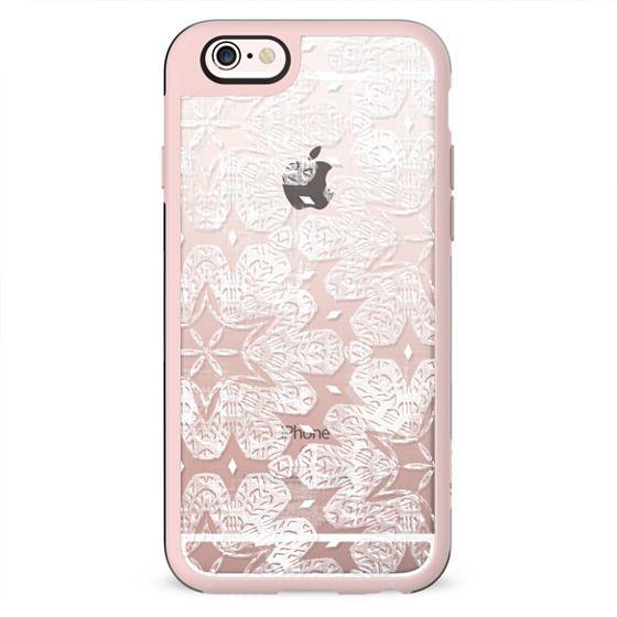 Transparent white lace pattern