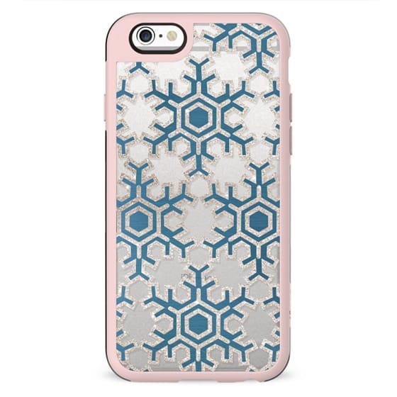 Stylised blue-golden snowflakes