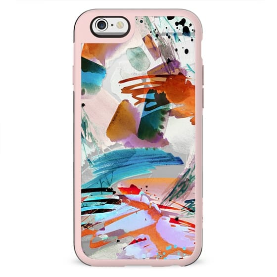 Watercolor splatter and brushstrokes