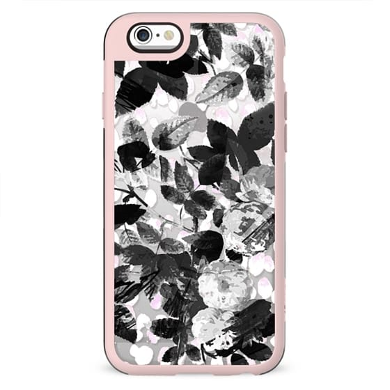 Black and white roses clear case